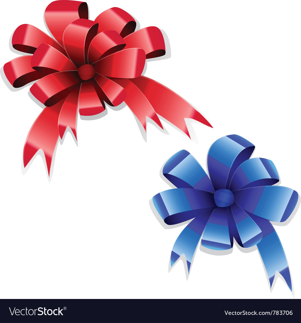 Red blue bows vector | Price: 1 Credit (USD $1)
