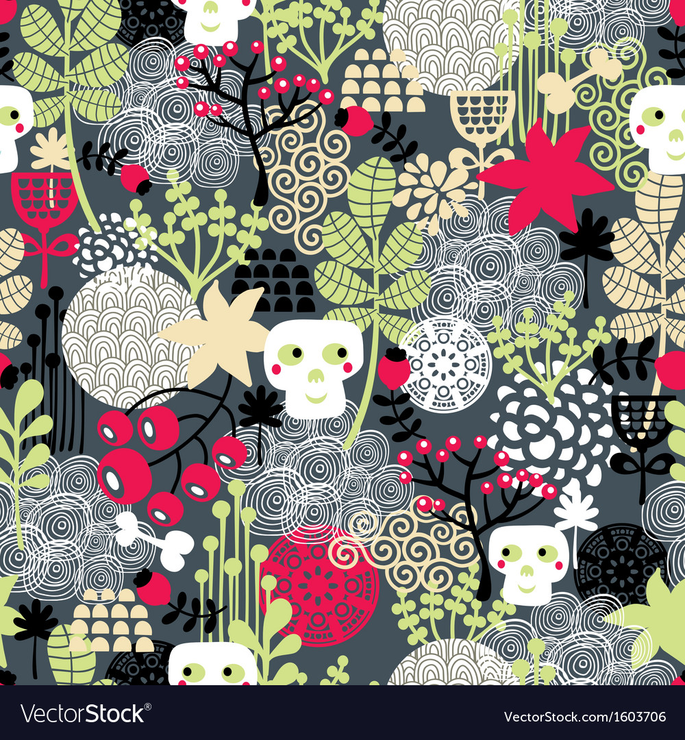 Seamless pattern with nature and skulls vector | Price: 1 Credit (USD $1)