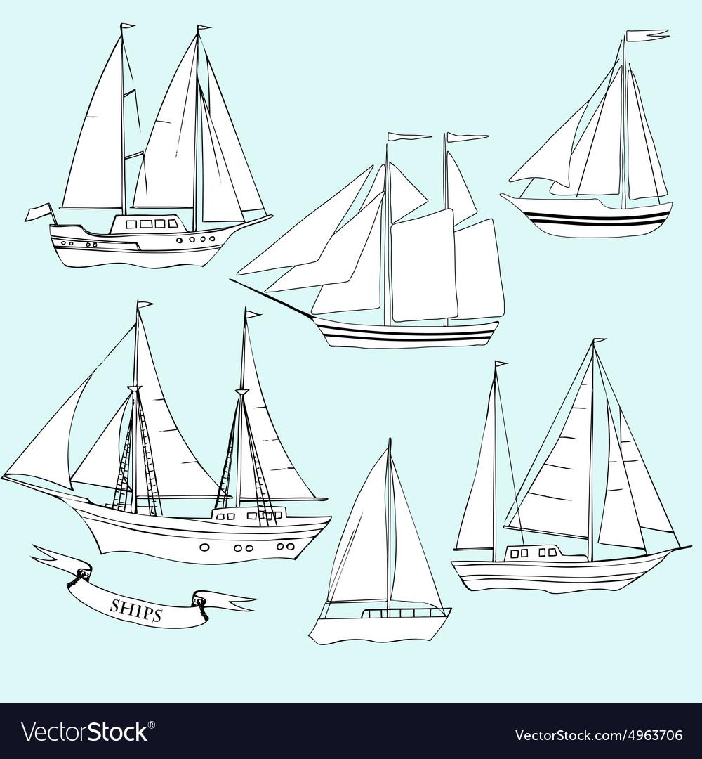Shipsset of sketches vector
