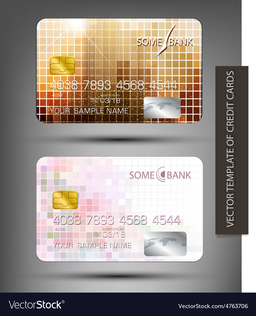 Templates credit cards with abstract square patter vector | Price: 1 Credit (USD $1)