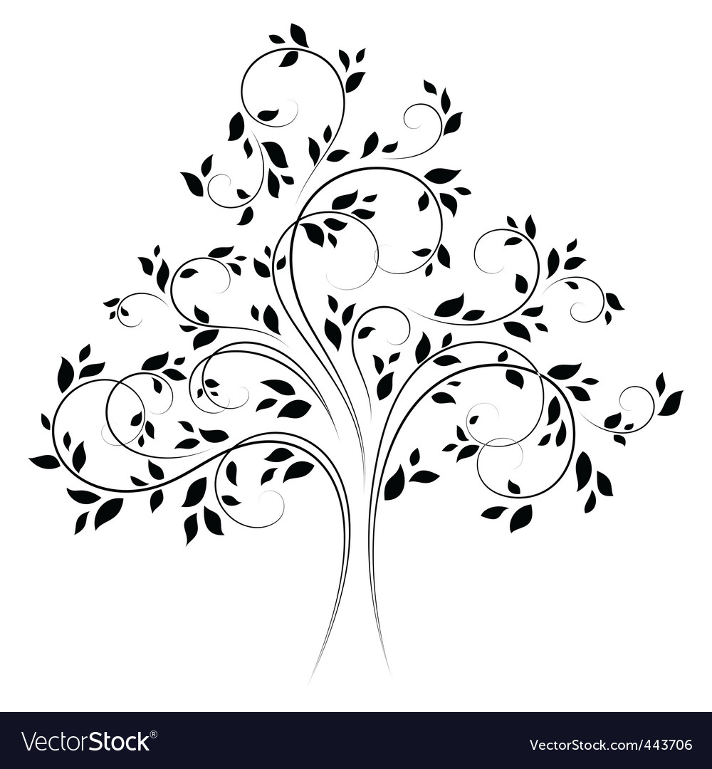 tree 4 black vector | Price: 1 Credit (USD $1)