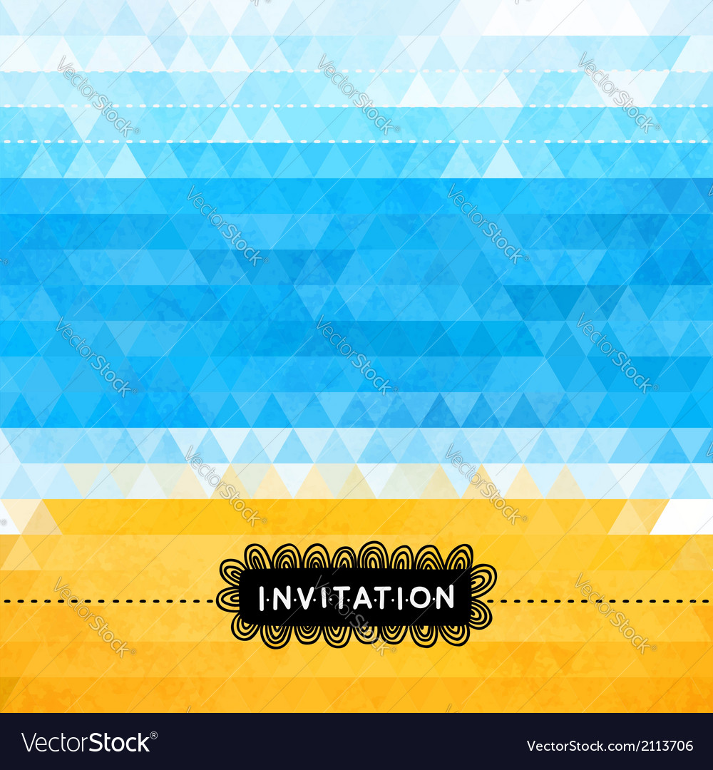 Triangle summer invitation with sea and beach vector | Price: 1 Credit (USD $1)