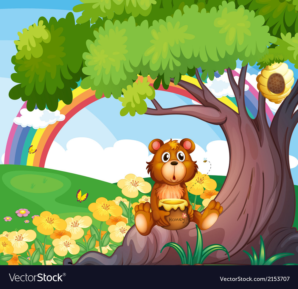 A bear under the tree with a rainbow at the back vector | Price: 3 Credit (USD $3)