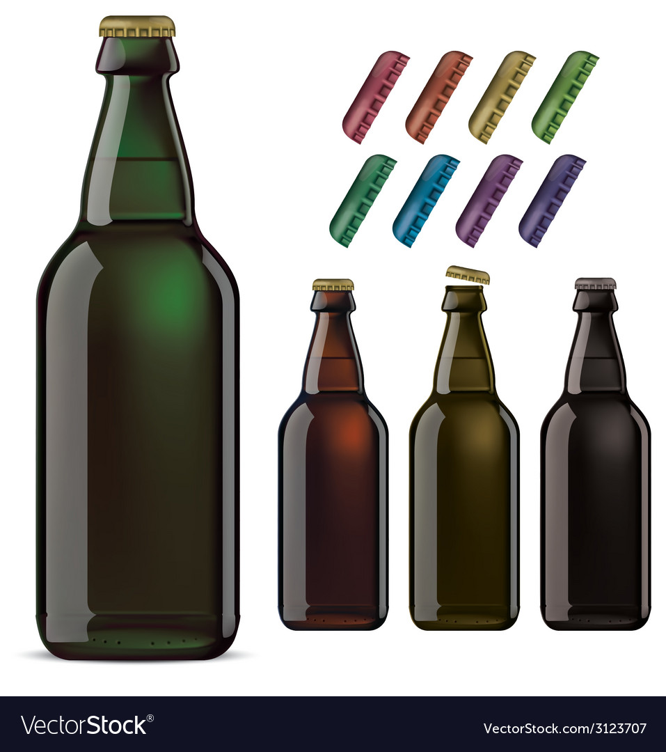 Beer bottles and covers vector | Price: 1 Credit (USD $1)