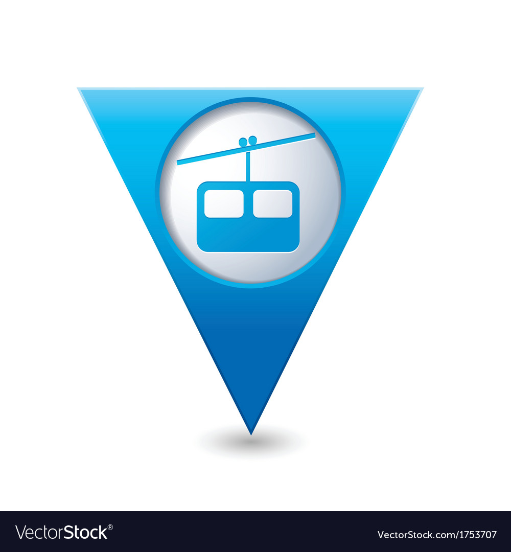 Chair lift icon on blue triangular map pointer vector | Price: 1 Credit (USD $1)