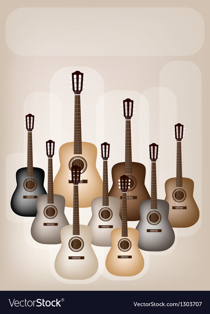 Classical guitars on beautiful brown background vector   Price: 1 Credit (USD $1)