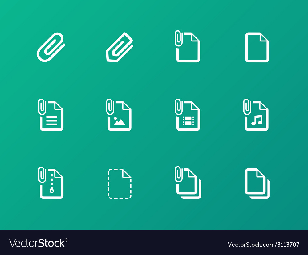 File clip icons on green background vector | Price: 1 Credit (USD $1)