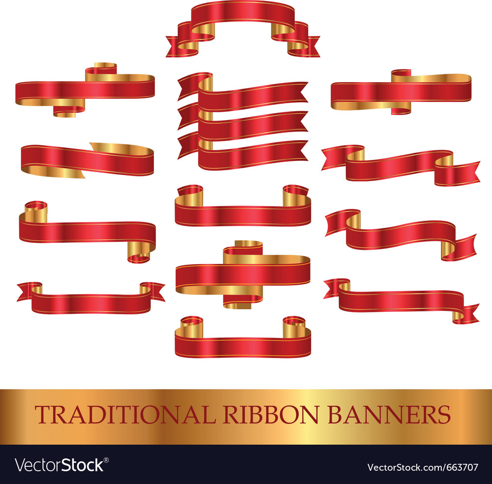 Red ribbon banners vector | Price: 1 Credit (USD $1)