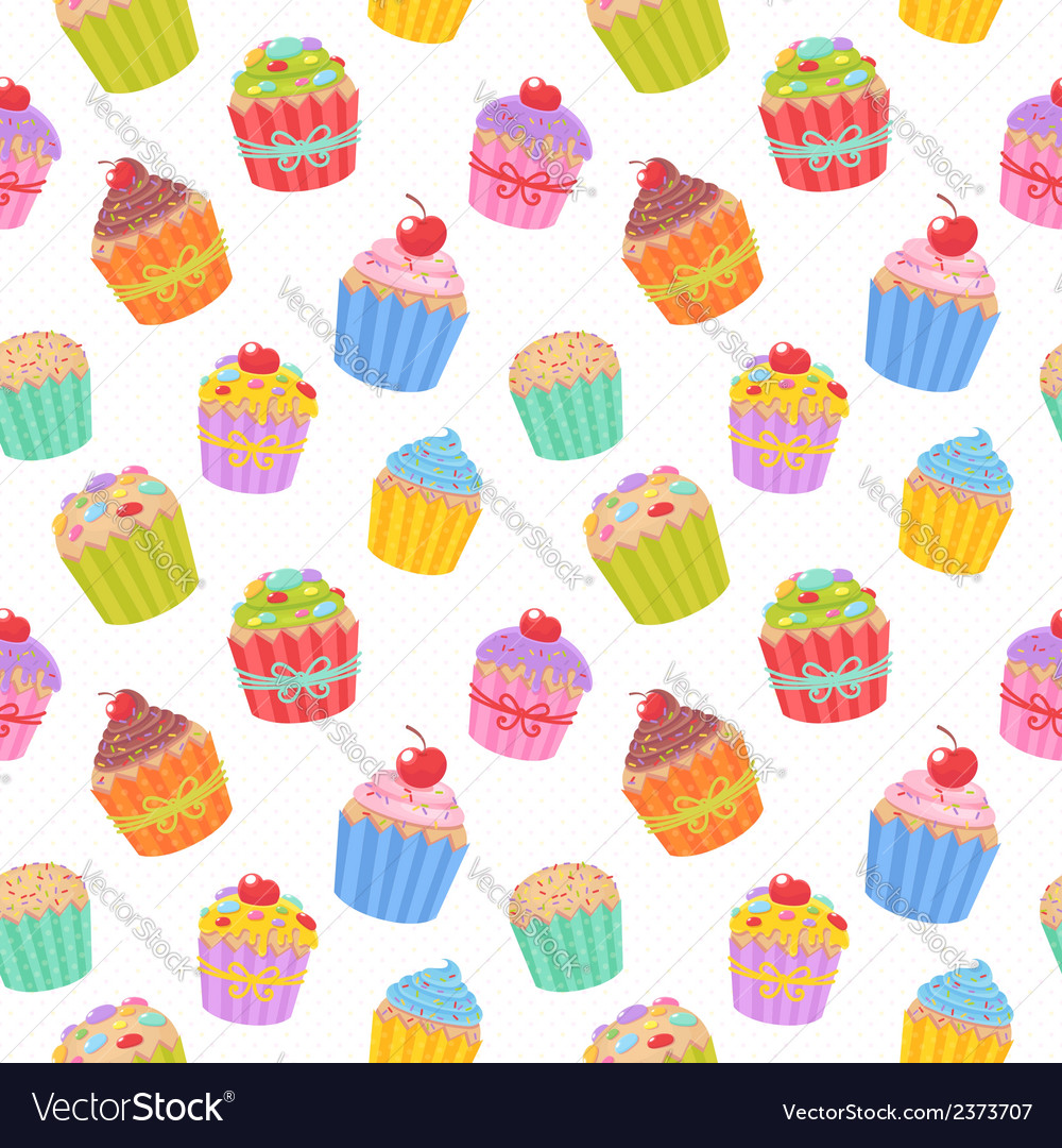 Seamless pattern with delicious muffins vector