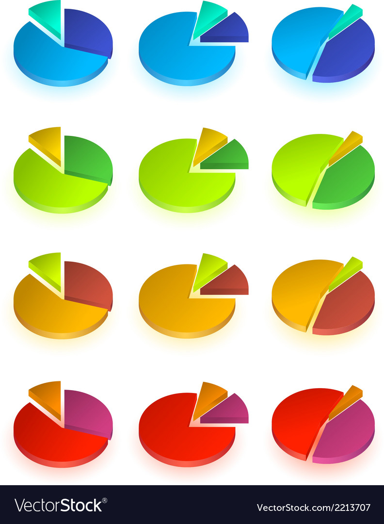 Set of different pie chart vector | Price: 1 Credit (USD $1)