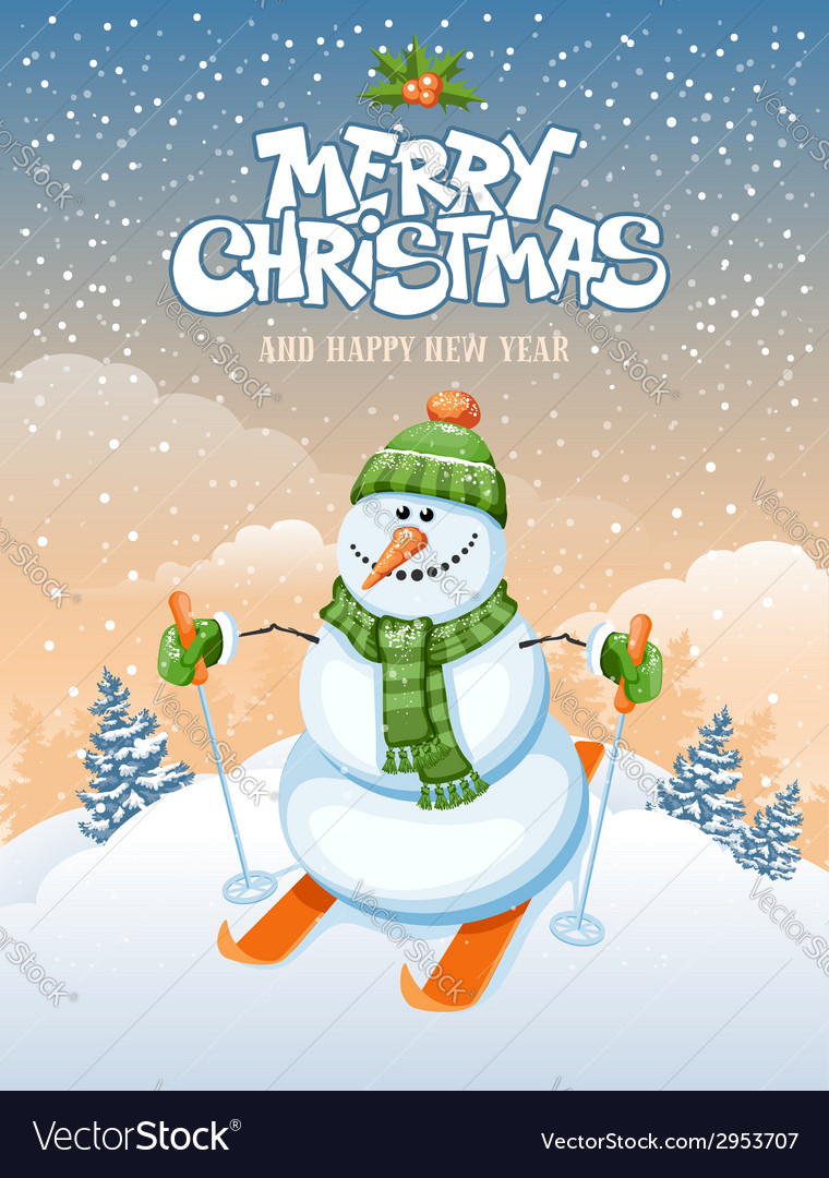 Snowman and ski vector | Price: 3 Credit (USD $3)