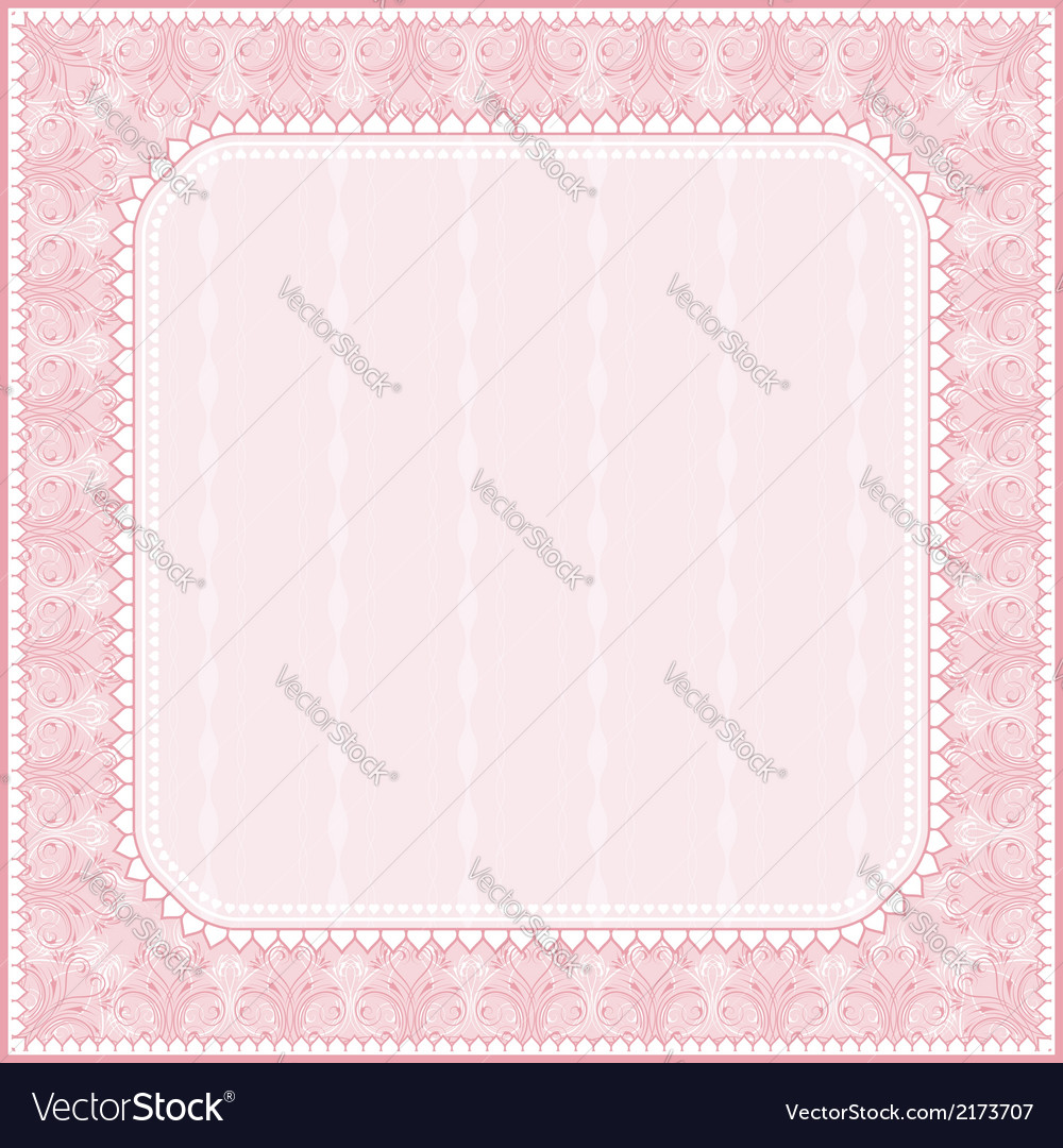 Square pink background with decorative ornaments vector | Price: 1 Credit (USD $1)
