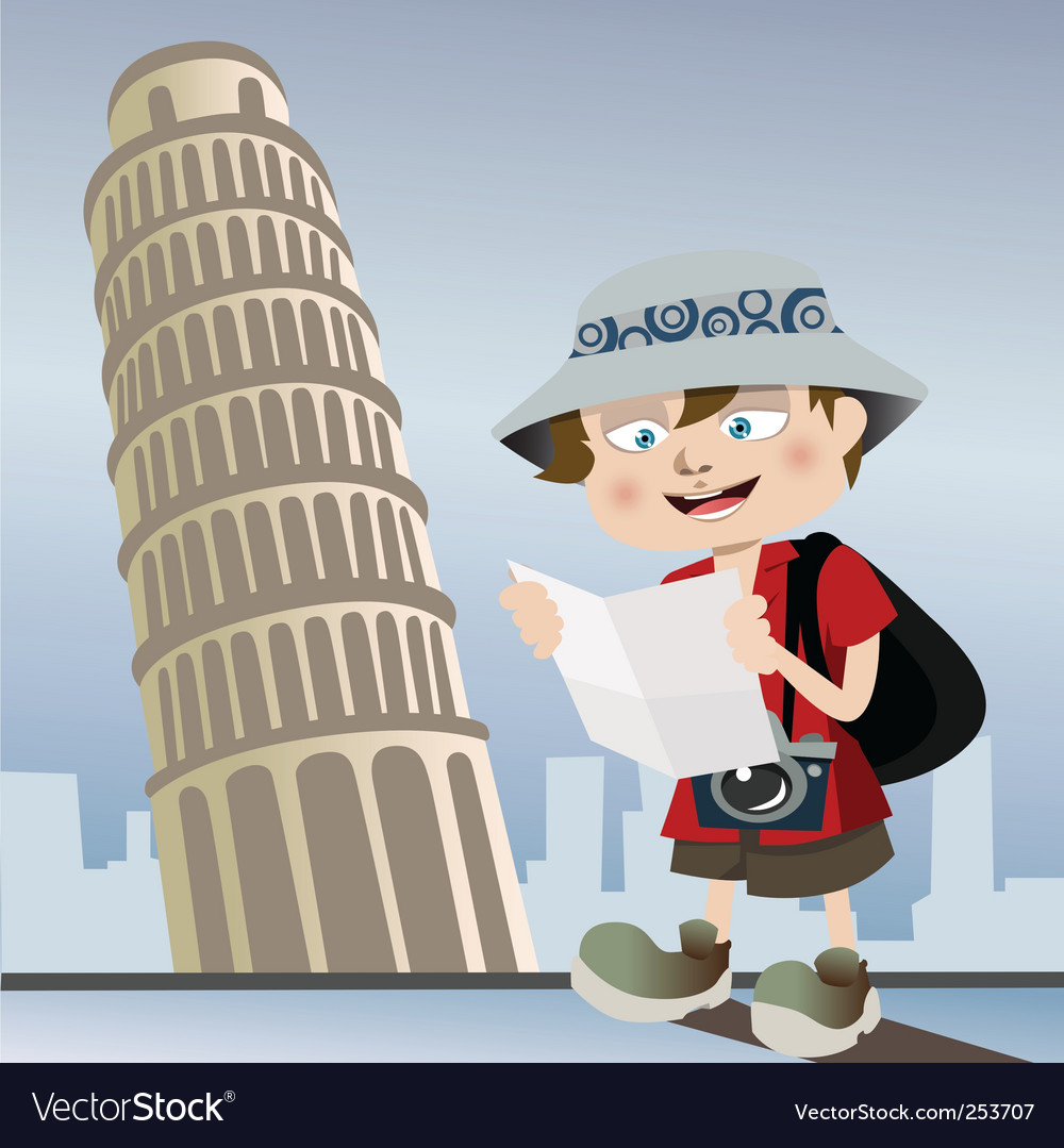 Tourist with pisa tower vector | Price: 1 Credit (USD $1)