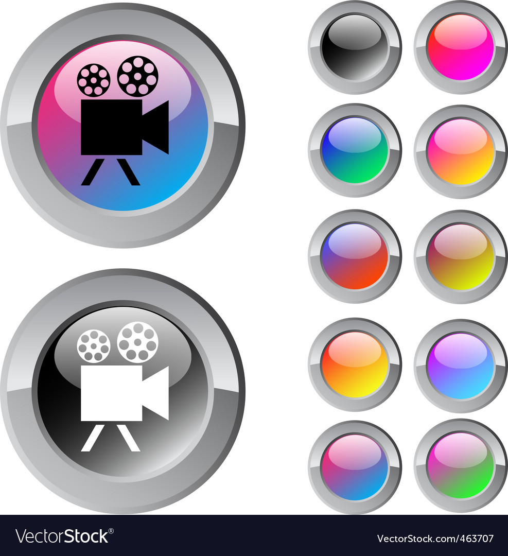 Video camera multicolor round button vector | Price: 1 Credit (USD $1)