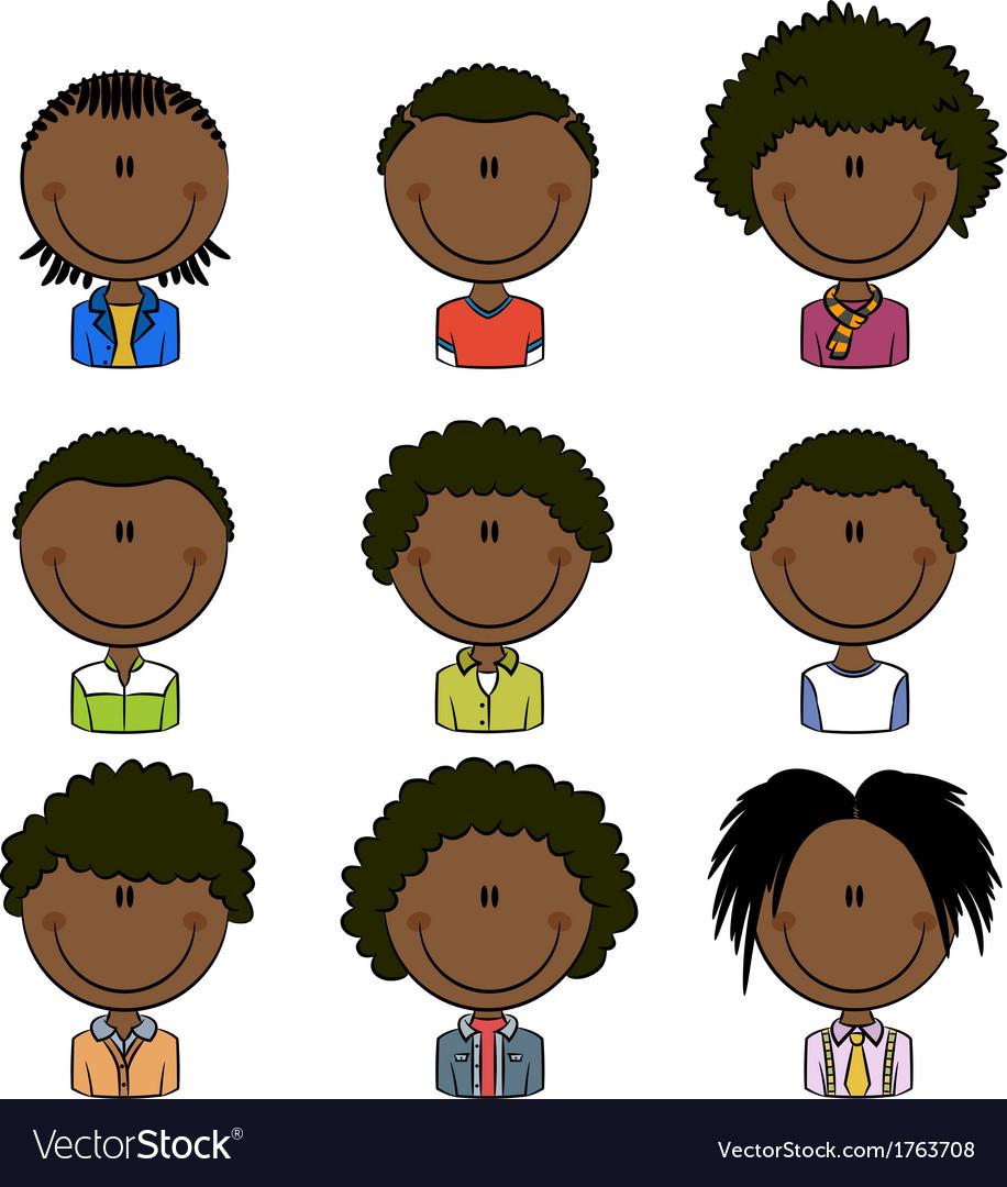 African american boys avatar vector | Price: 1 Credit (USD $1)