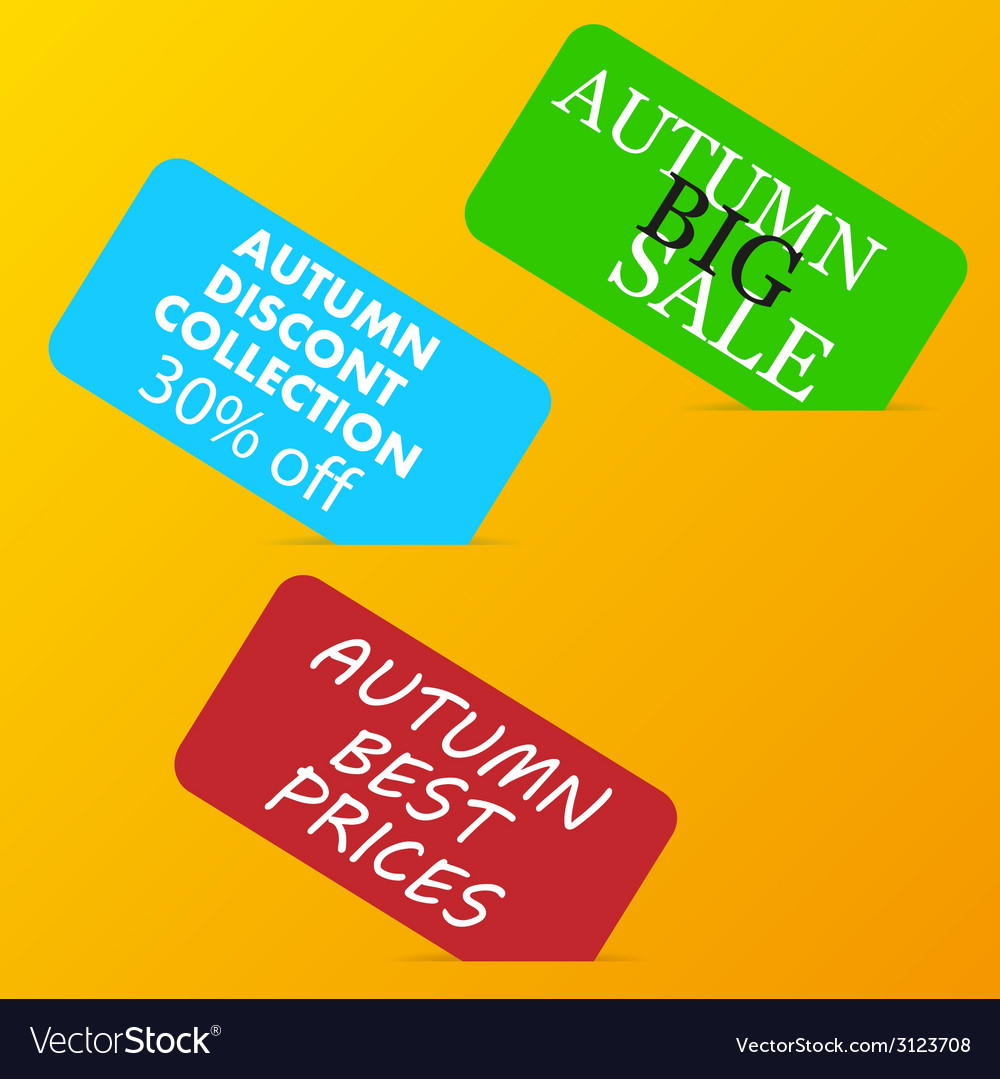 Autumn big sale color advertising paper cards on vector | Price: 1 Credit (USD $1)
