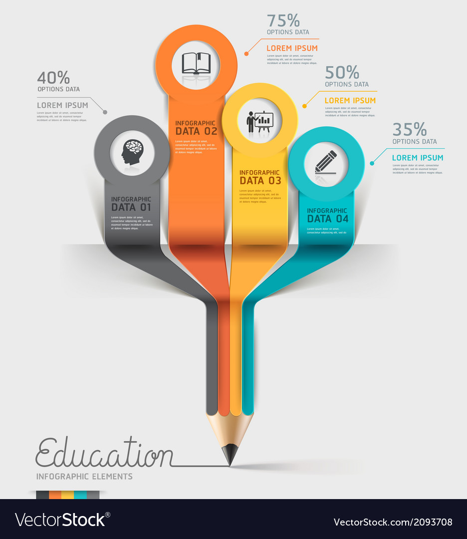 Education pencil infographics template vector | Price: 1 Credit (USD $1)