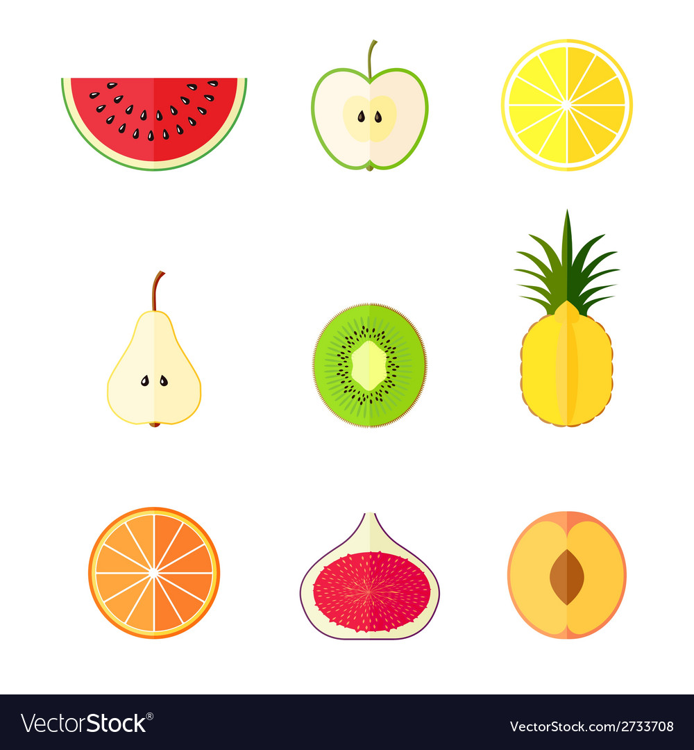 Flat fruits vector | Price: 1 Credit (USD $1)