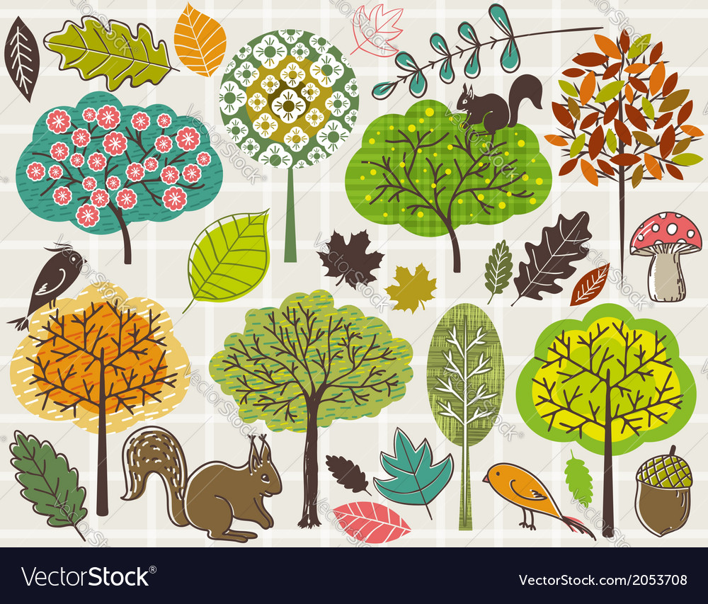 Hand draw trees and leafs over checked background vector | Price: 1 Credit (USD $1)