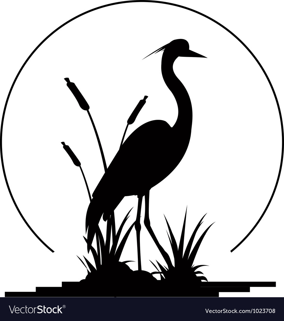 Heron silhouette with giant moon background vector | Price: 1 Credit (USD $1)