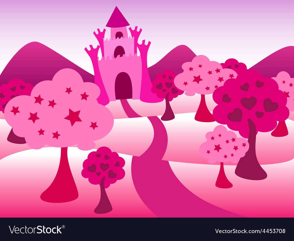 Pink castle landscape vector | Price: 1 Credit (USD $1)