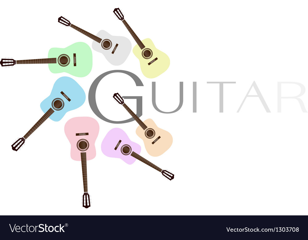 Set of colorful classical guitars vector | Price: 1 Credit (USD $1)