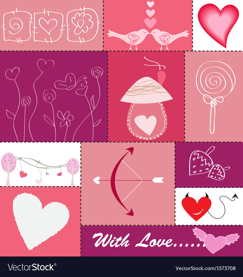 Set of hearts and love icons vector | Price: 1 Credit (USD $1)