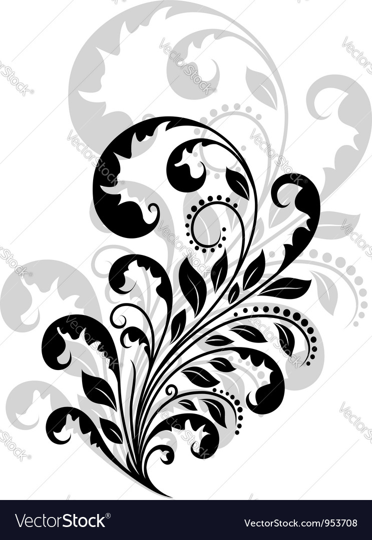 Vintage floral embellishment vector | Price: 1 Credit (USD $1)