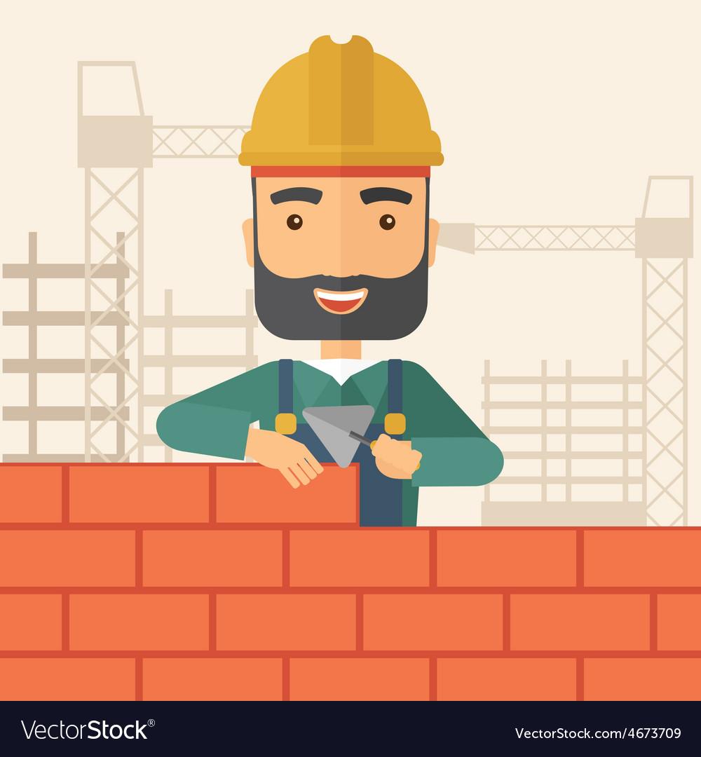 Builder man is building a brick wall vector   Price: 1 Credit (USD $1)