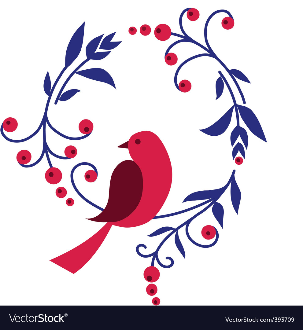 Floral bird background vector | Price: 1 Credit (USD $1)