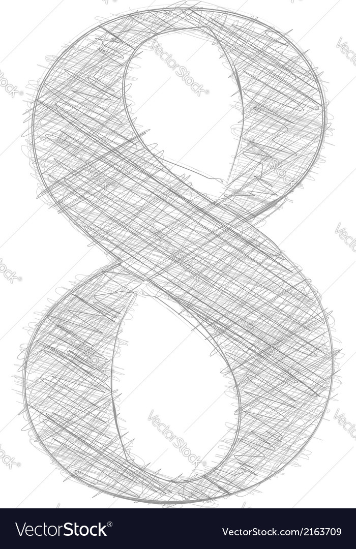 Freehand typography number 8 vector | Price: 1 Credit (USD $1)