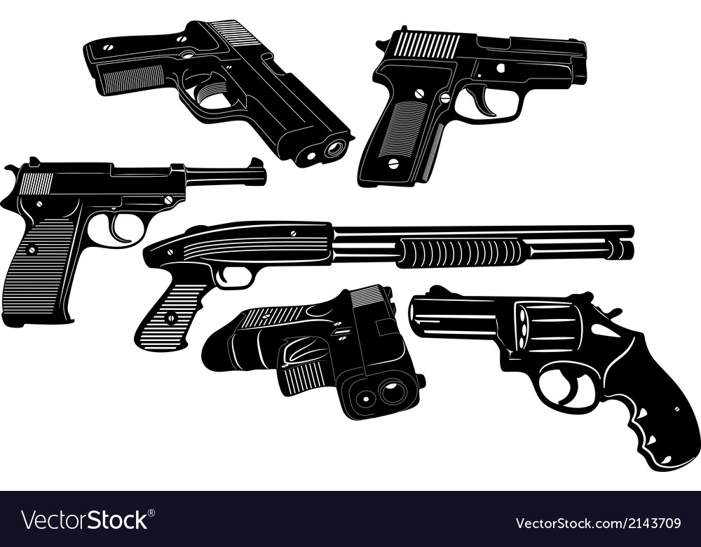 Gun set 1 vector | Price: 1 Credit (USD $1)