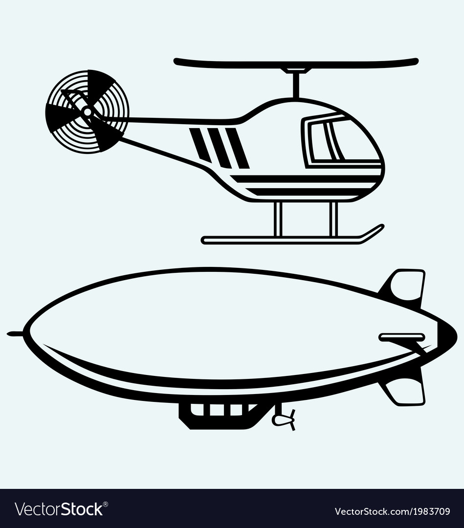 Helicopter and dirigible vector | Price: 1 Credit (USD $1)