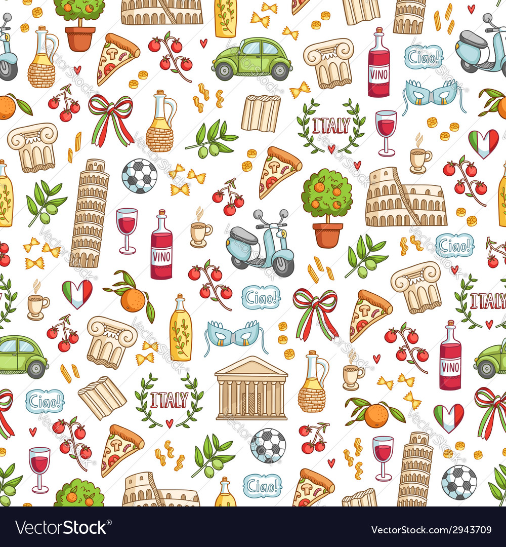 Italian style seamless pattern vector | Price: 1 Credit (USD $1)