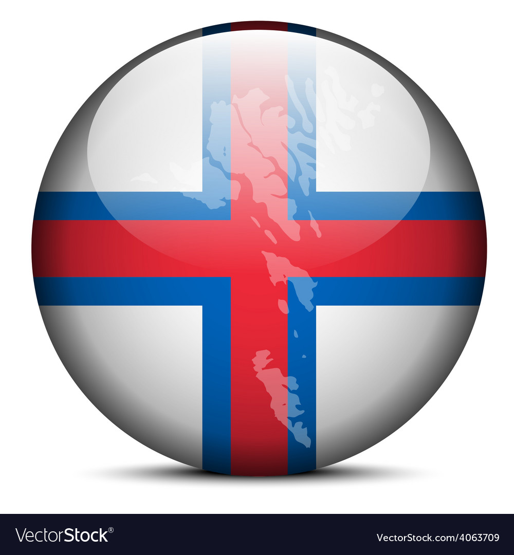 Map on flag button of faroe islands vector | Price: 1 Credit (USD $1)
