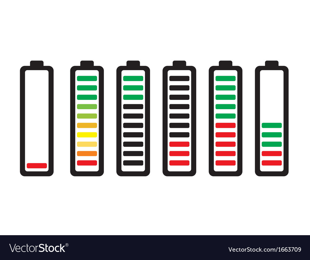 Set of battery charge level indicators vector | Price: 1 Credit (USD $1)