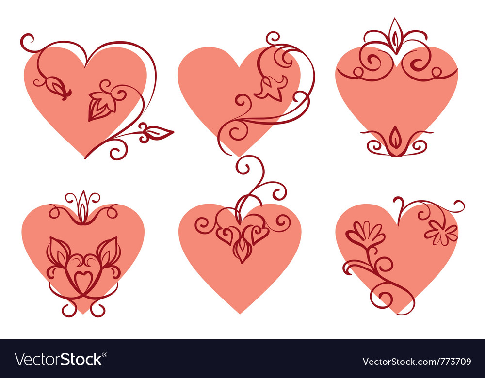 Set of floral hearts vector | Price: 1 Credit (USD $1)