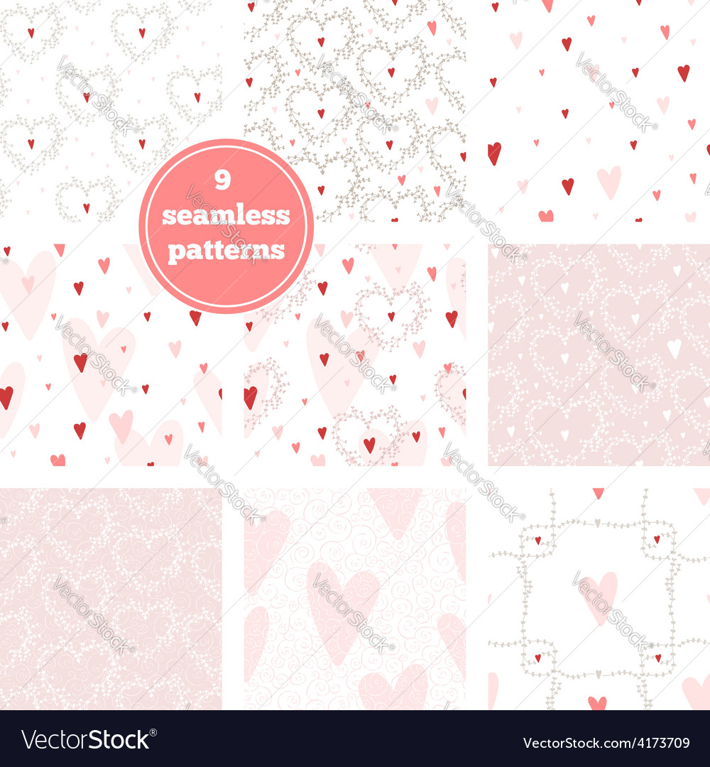 Set of nine pink seamless patterns vector | Price: 1 Credit (USD $1)