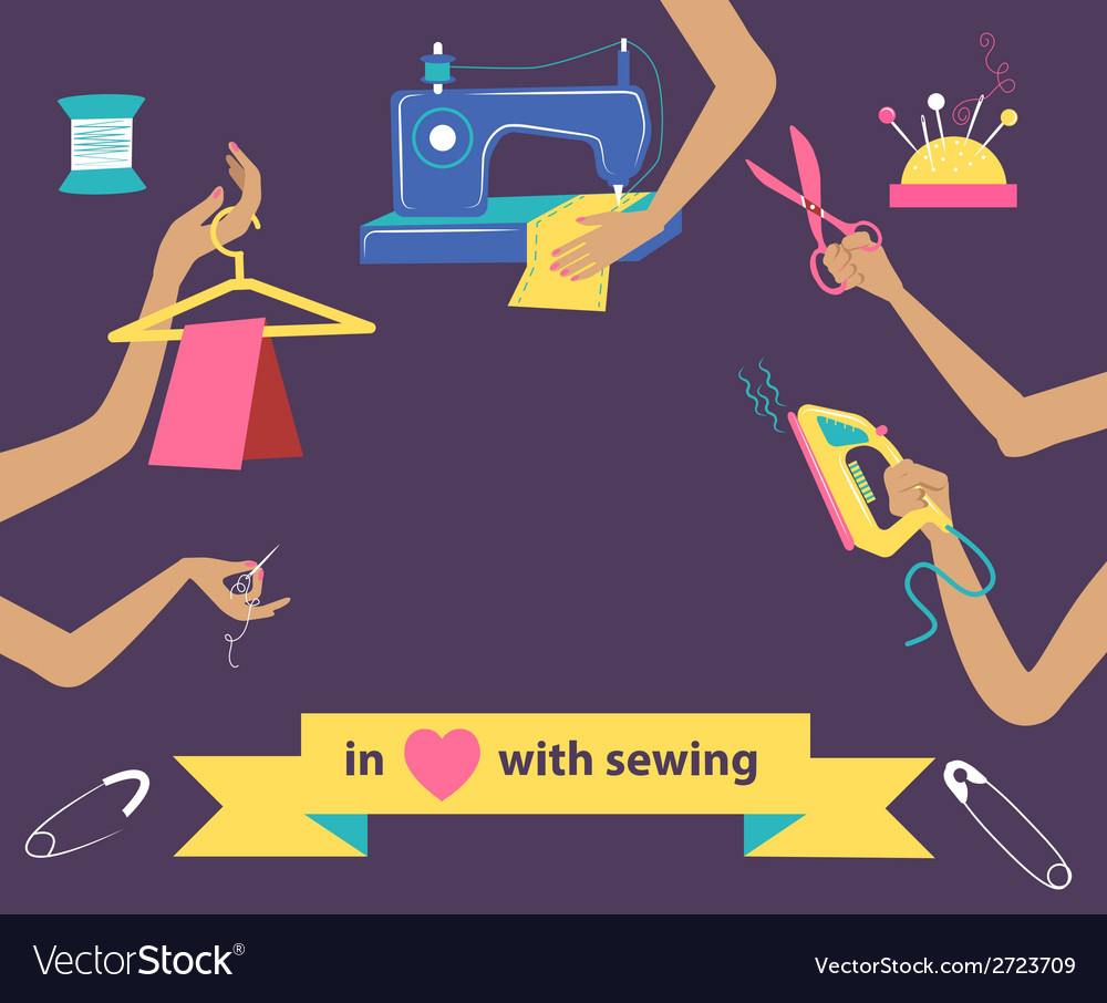 Sewing with collection of differnt tools in hands vector | Price: 1 Credit (USD $1)