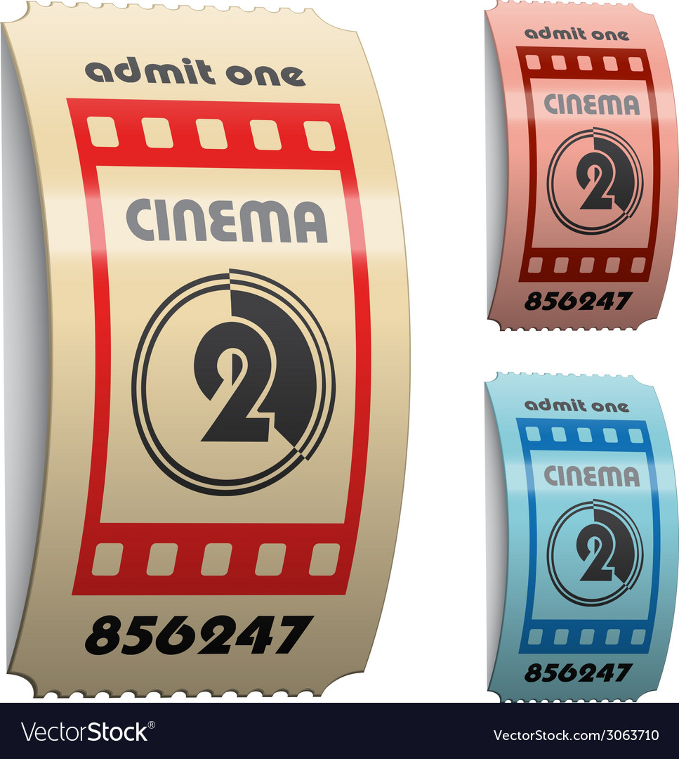 3d shiny curled cinema tickets vector | Price: 1 Credit (USD $1)