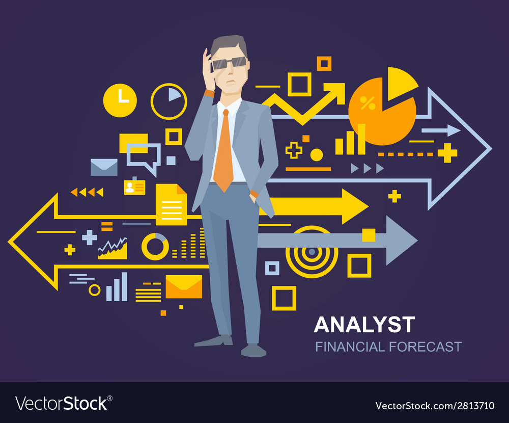 A portrait of analyst man in a jacket han vector | Price: 1 Credit (USD $1)