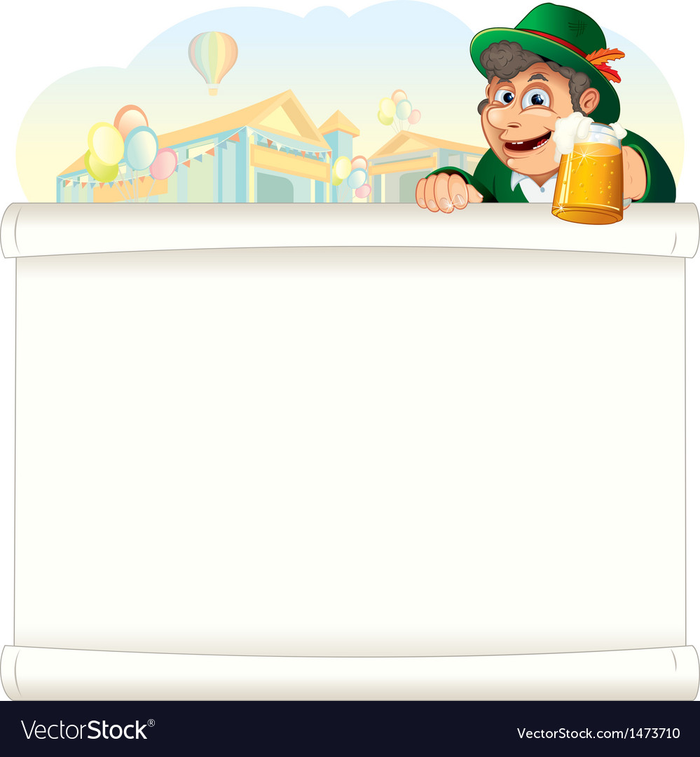 Bavarian guy with beer on oktoberfest background vector | Price: 3 Credit (USD $3)