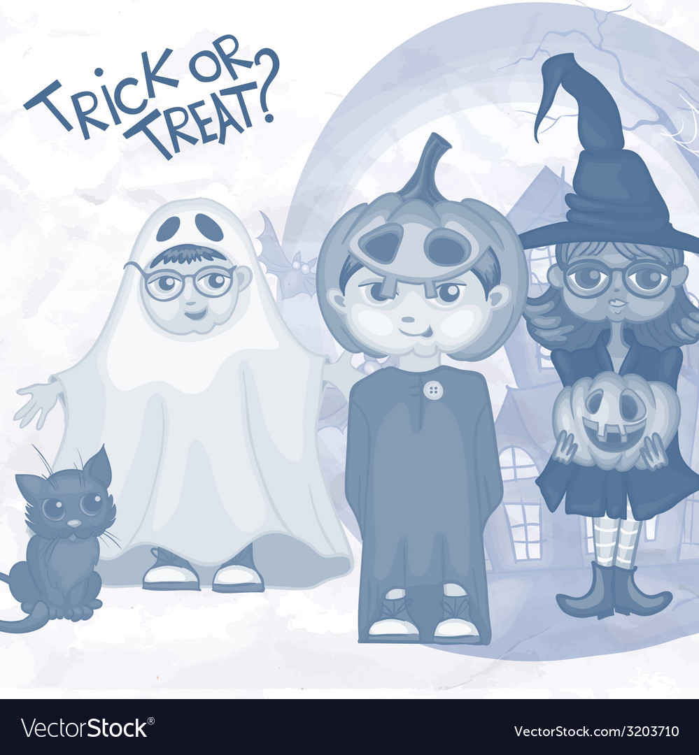 Halloween children trick or treating vector | Price: 1 Credit (USD $1)