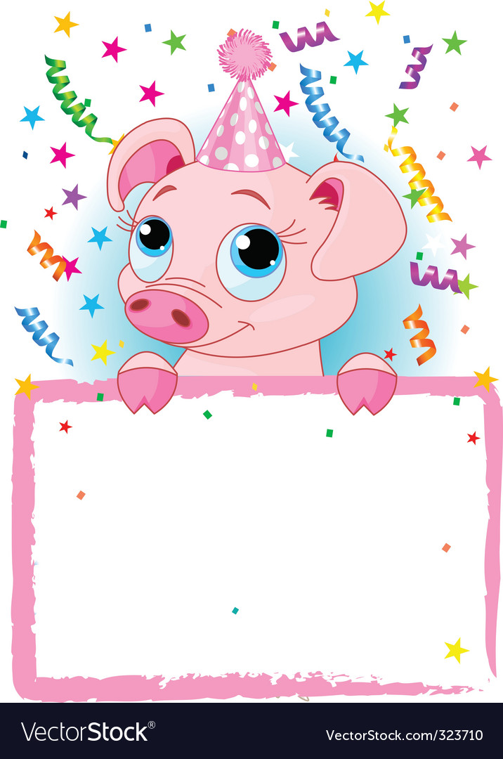 Piglet birthday vector | Price: 3 Credit (USD $3)