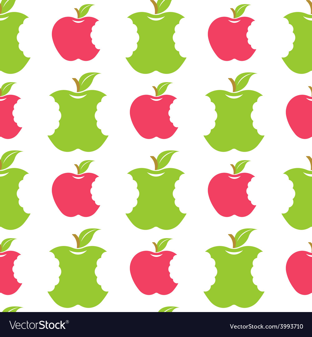 Seamless pattern with green and red apples vector | Price: 1 Credit (USD $1)