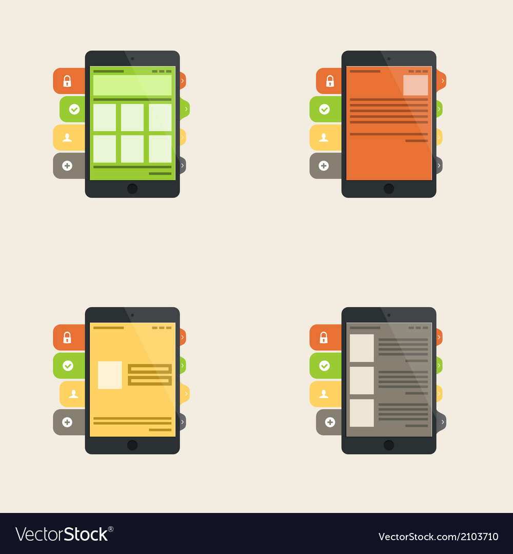 Set of flat interface concept for web and mobile vector | Price: 1 Credit (USD $1)