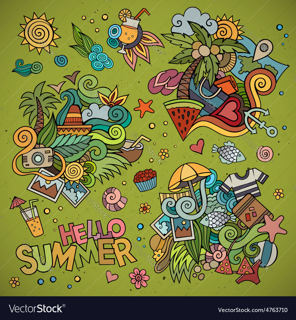 Summer and vacation symbols and objects vector | Price: 1 Credit (USD $1)
