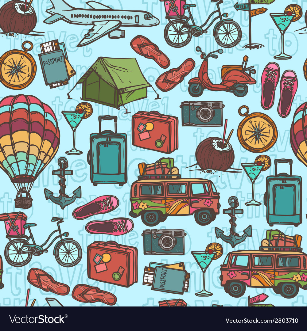 Travel sketch seamless pattern vector | Price: 1 Credit (USD $1)