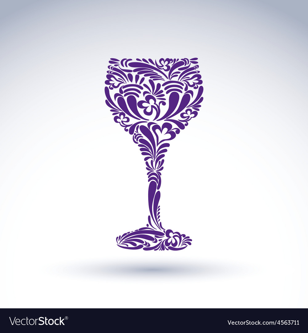 Creative goblet with floral ethnic tracery vector | Price: 1 Credit (USD $1)
