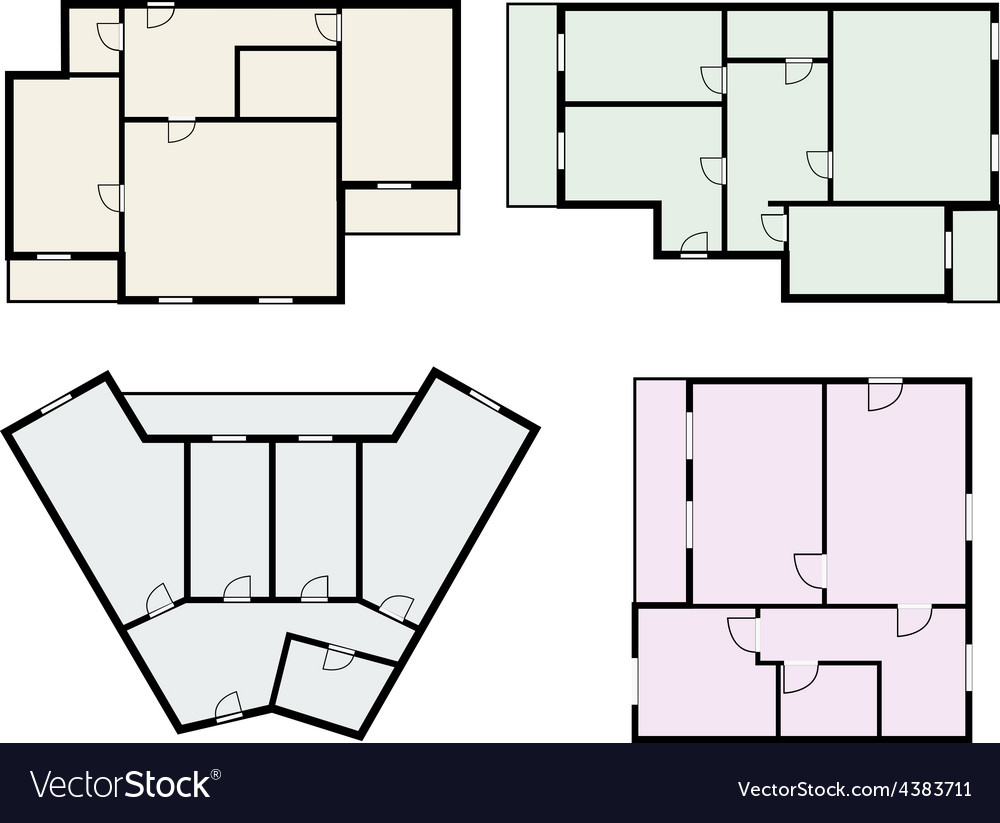 Flats scheme view from above vector | Price: 1 Credit (USD $1)